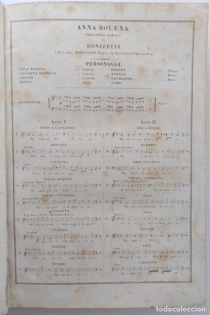 Partituras musicales: DONIZETTI: ANNA BOLENA. PARTITURA DE CANTO Y PIANO. (PARÍS, 1859) - Foto 3 - 131791218