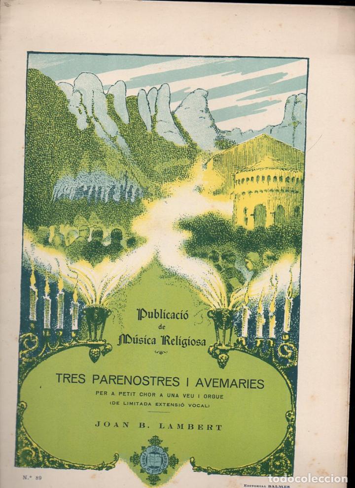 MÚSICA RELIGIOSA : JOAN LAMBERT - TRES PARENOSTRES I AVEMERIES (FOMENT DE PIETAT) (Música - Partituras Musicales Antiguas)