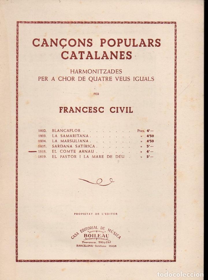 FRANCESC CIVIL : EL COMTE ARNAU (BOILEAU) CANÇONS POPULARS CATALANES (Música - Partituras Musicales Antiguas)