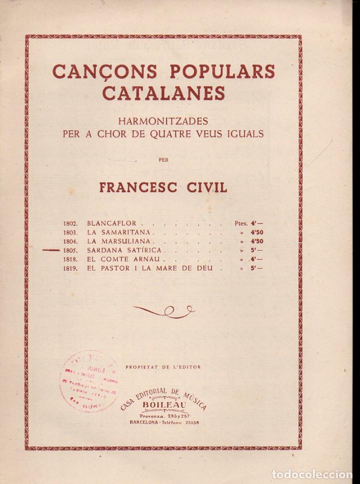 FRANCESC CIVIL : SARDANA SATIRICA (BOILEAU) CANÇONS POPULARS CATALANES (Música - Partituras Musicales Antiguas)