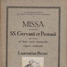 Partituras musicales: PEROSI : MISSA SS. GERVASII ET PROTASII (SCHWANN, 1870). Lote 133432762