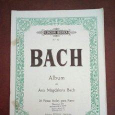 Partituras musicales: PARTITURA, BACH, ALBUM DE ANA MARÍA MAGDALENA. Lote 133473915