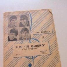 Partituras musicales: P.D TE QUIERO I LOVE YOU - JOHN LENNON, PAUL MC CARTNEY - THE BEATLES - GRAMOFONO-ODEON CS146. Lote 133552758