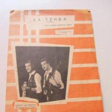 Partituras musicales: LA YENKA - 1965 - JOHNNY Y CHARLYE KURT - EDICIONES HISPAVOX - LETRA Y MÚSICA CS146. Lote 133554462