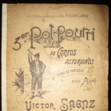 Partiture musicali: TERCER POUT-POURRI DE CANTOS ASTURIANOS PARA PIANO. VÍCTOR SÁENZ. OVIEDO, PRINCIPIOS DE SIGLO XX.. Lote 135554466