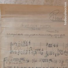 Partituras musicales: TORRENT. PARTITURA ORIGINAL DE MARIANO PUIG. MARIAVICEN MARTIN (PASODOBLE).. Lote 136002758
