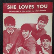Partituras musicales: BEATLES - SHE LOVES YOU - HOJA DE PARTITURAS ORIGINAL - USA - PAUL MCCARTNEY - JOHN LENNON. Lote 136614166