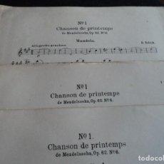 Partituras musicales: CHANSON DE PRINTEMPS DE MENDELSSOHN, PARA MANDOLA Y DOS MANDOLINAS TOTAL 56 PAGINAS . Lote 137405858