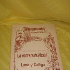 Partituras musicales: PARTITURA HARMONIA,NOCTURNO,PRELUCIO DEL 2ºACTO DE LA ZARZUELA LA VENTERA DE ALCALÁ DELUNA Y CALLEJA. Lote 138106034