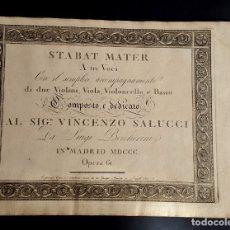 Partituras musicales: BOCCHERINI - 1801 - STABAT MATER - PARTITURA INCOMPLETA. Lote 138777238