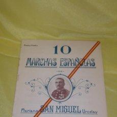 Partituras musicales: 10 MARCHAS ESPAÑOLAS, PARTITURAS FLAUTA Y FLAUTÍN DE MARIANO SAN MIGUEL URCELAY, AÑO 1927.. Lote 138862554