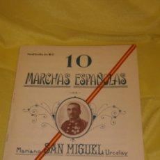 Partituras musicales: 10 MARCHAS ESPAÑOLAS, PARTITURA SAXOFÓN ALTO MI B, DE MARIANO SAN MARGUEL URCELAY, AÑO 1927.. Lote 138881230