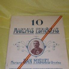 Partituras musicales: 10 MARCHAS ESPAÑOLAS, PARTITURA PARA PIANO CONDUCTOR, DE MARIANO SAN MIGUEL URCELAY, AÑO 1927.. Lote 138881918