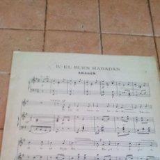 Partituras musicales: EL BUEN RABADAN - VILLANCICO DE NAVIDAD DE ARAGON - ANTIGUA PARTITURA. Lote 140710290