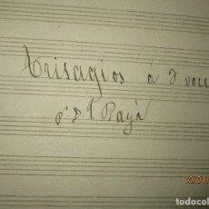 Partituras musicales: PARTITURAS 1888 TRISAGIOS A 3 POR PAYA MANUSCRITAS POR F ROGLA EN SUECA . Lote 142628110