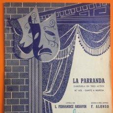 Partituras musicales: PARTITURA- LA PARRANDA- MURCIA- ZARZUELA EN TRES ACTOS- CANTO A MURCIA. Lote 143368182