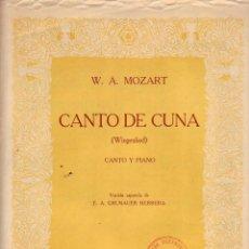 Partituras musicales: CANTO DE CUNA - MOZART - PARTITURA. Lote 143666306