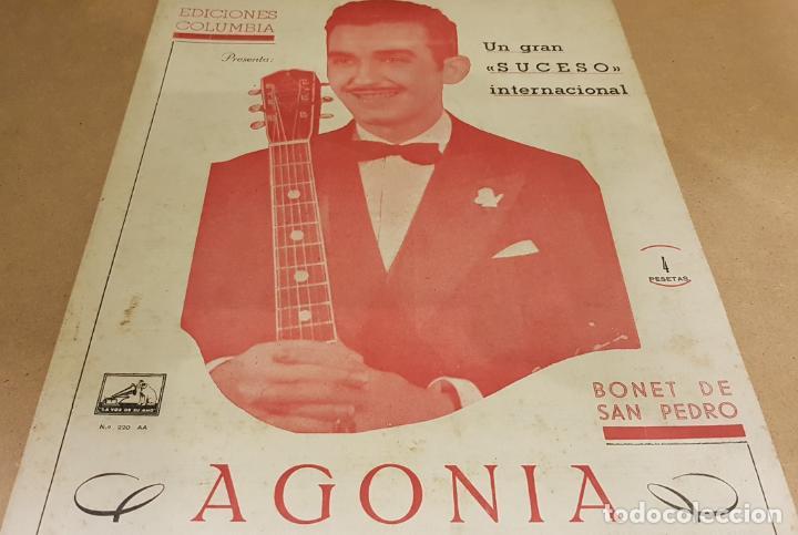 PARTITURA / BONET DE SAN PEDRO. AGONÍA ( FOX ) EDICIONES COLUMBIA. (Música - Partituras Musicales Antiguas)