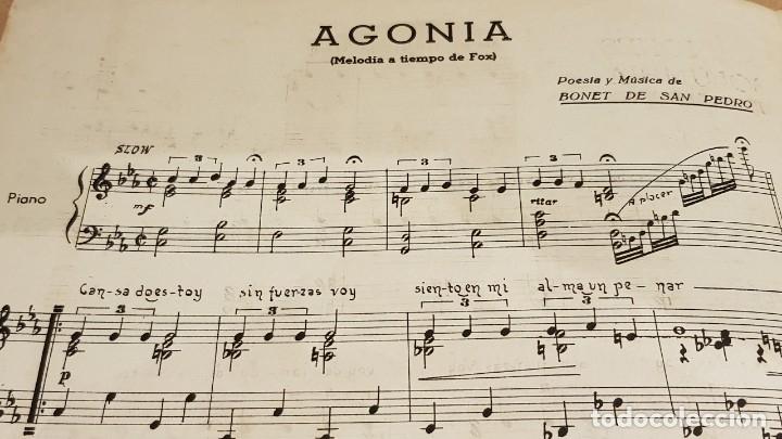 Partituras musicales: PARTITURA / BONET DE SAN PEDRO. AGONÍA ( FOX ) EDICIONES COLUMBIA. - Foto 3 - 143822558