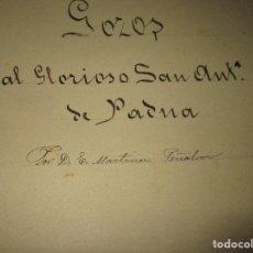 Partituras musicales: VALENCIA EPIFANEO MARTINEZ PARTITURA SIGLO XIX IMRESA 8 PAGS GOZOS AL GLORIOSO SAN ANTONIO DE PADUA. Lote 56729958