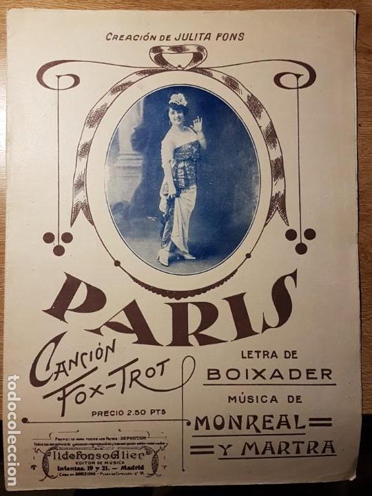 Partituras musicales: ANTIGUA PARTITURA PARÍS. JULITA FONS. BOIXADER, MONREAL Y MARTRA - Foto 1 - 145539762
