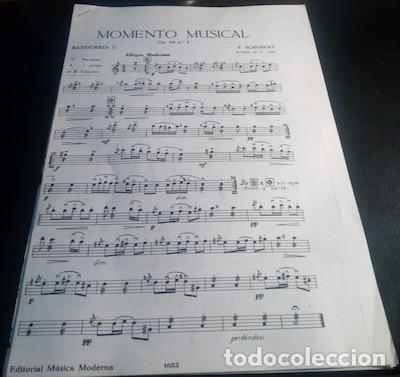 PARTITURA PARA BANDURRIA, LAUD Y GUITARRA DE MOMENTO MUSICAL, POR F. SCHUBERT (Música - Partituras Musicales Antiguas)