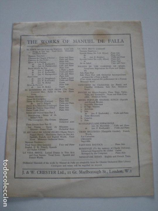 Partituras musicales: MANUEL DE FALLA - EL AMOR BRUJO - ANTIGUA PARTITURA UK J. & W. CHESTER Ltd. // DANCE OF TERROR - Foto 3 - 147708670