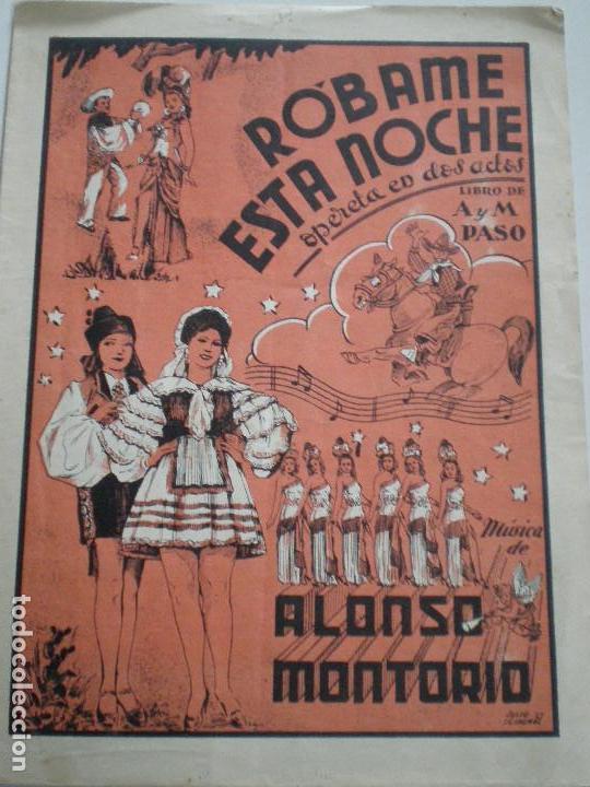 ALONSO MONTORIO - ROBAME ESTA NOCHE - ANTIGUA PARTITURA SGAE MADRID 1947 (Música - Partituras Musicales Antiguas)