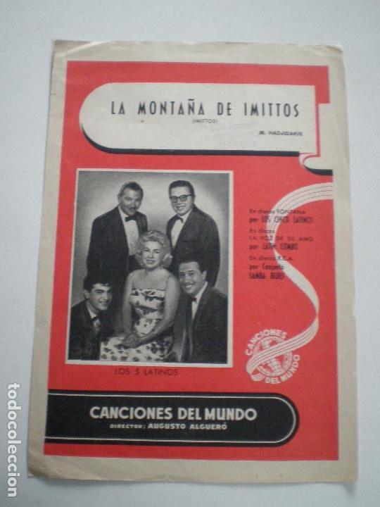LOS 5 LATINOS - LA MONTAÑA DE IMITTOS - PARTITURA CANCIONES DEL MUNDO 1961 // AUGUSTO ALGUERO (Música - Partituras Musicales Antiguas)