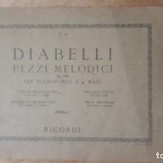 Partituras musicales: 1 PARTITURA ,** DIABELLI PEZZI MELODICI ** PIANOFORTE 4 MANI . RICORDI1944. Lote 148553290