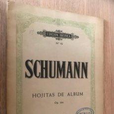 Partituras musicales: SCHUMANN. HOJITAS DE ALBUM OP. 164. BOILEAU. Lote 151385950
