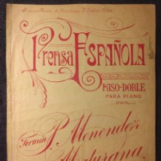 Partituras musicales: PRENSA ESPAÑOLA. PASO-DOBLE PARA PIANO POR FERMÍN MENÉNDEZ MATURANA.1915 H.. Lote 151518186