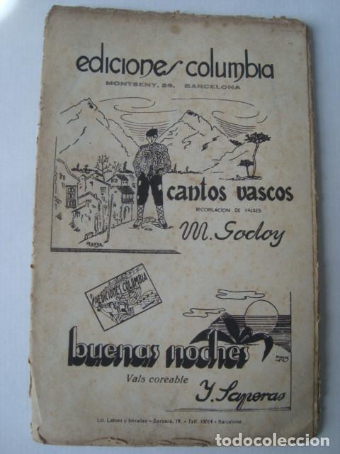 PARTITURA - CANTOS VASCOS / BUENAS NOCHES - M. GODOY Y Y. SAPERAS (COLUMBIA, 1941). (Música - Partituras Musicales Antiguas)