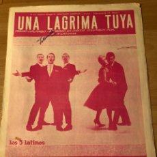 Partituras musicales: PARTITURA UNA LÁGRIMA TUYA LOS 5 LATINOS. Lote 152055188