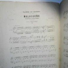Partituras musicales: FLORES DE ESPAÑA, MALAGUEÑA.- 5 PÁGINAS ARMONIZADA PARA PIANO POR ISIDORO HERNANDEZ. 1883. Lote 152496318