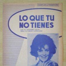 Partituras musicales: CARMEN SEVILLA : LO QUE TU NO TIENES - PARTITURA PIANO PROMOCIONAL 1967 CANCIONES DEL MUNDO. Lote 152936510