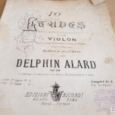 Partituras musicales: 10 ETUDES POUR LE VIOLON PAR DELPHIN ALARD / MILANO / MUY ANTIGUO-.SIN FECHA.. Lote 155466090