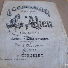 Partituras musicales: AÑO 1870 / LA GUIRNALDA - ÁLBUM DE MÚSICA / L'ADIEU / J. GAZTAMBIDE / 2 HOJAS / CON USO.. Lote 155466818