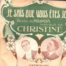 Partituras musicales: POUPON / CHRISTINE :JE SAIS QUE VOUS ÊTES JOLIE (PARIS). Lote 156593546