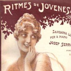 Partituras musicales: JOSEP SERRA : RITMES DE JOVENESA SARDANA LLARGA PER A PIANO - ILUSTRACIÓN DE A. UTRILLO. Lote 156599274