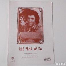 Partituras musicales: QUE PENA ME DA (DANNY DANIEL) CIFRADO GUITARRA 1978. Lote 157901650