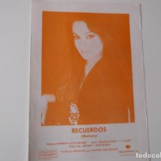 Partituras musicales: RECUERDOS (MEMORY) (PALOMA SAN BASILIO) CIFRADO GUITARRA 1981. Lote 158306774