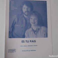 Partiture musicali: ES TU PAIS (PIMPINELA) CIFRADO GUITARRA 1979. Lote 158335102