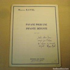 Partituras musicales: PARTITURA. PAVANE POUR UNE INFANTE DÉFUNTE .RAVEL. ADAPTACIÓN PARA PIANO.. Lote 158518590