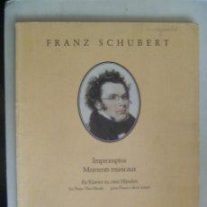 Partituras musicales: PARTITURAS DE FRANZ SCHUBERT : IMPROMPTUS , MOMENTS MUSICAUX.. Lote 158681582