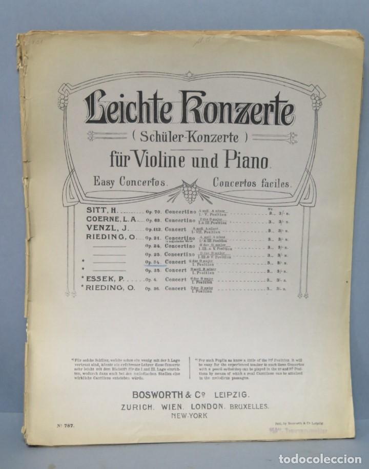 LEICHTE KONZETE. SCHULER KONZERTE FUR VIOLINE UND PIANO (Música - Partituras Musicales Antiguas)