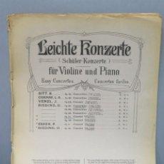 Partituras musicales: LEICHTE KONZETE. SCHULER KONZERTE FUR VIOLINE UND PIANO. Lote 159275542