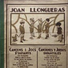 Partituras musicales: JOAN LLONGUERAS. EL DORMILÓN. CANCIONES Y JUEGOS INFANTILES 22X30 CM. Lote 159389454