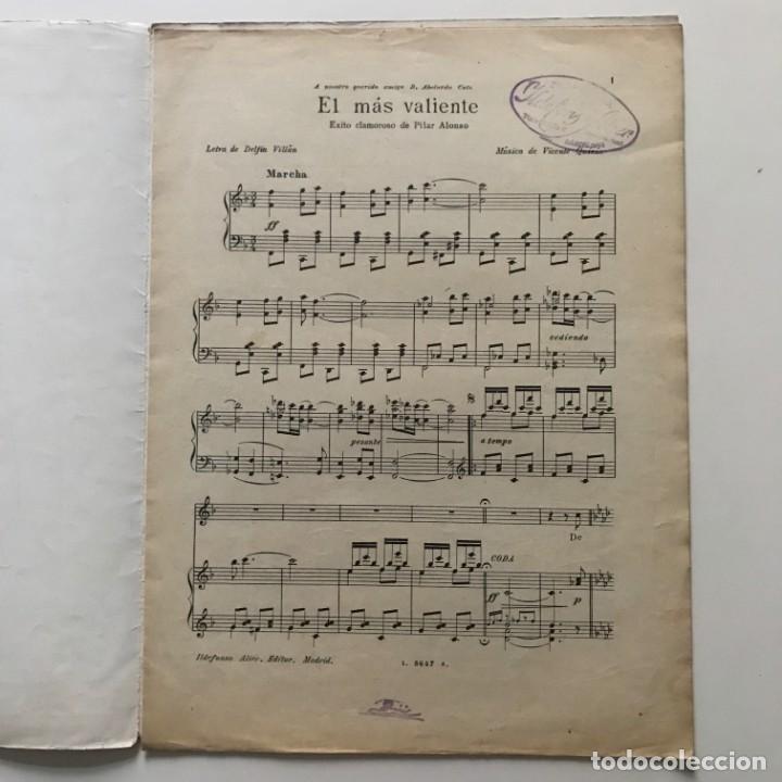 Partituras musicales: El más valiente. Letra de Delfin Villán. Música de Vicente Quirós 24,7x33,5 cm - Foto 3 - 159433942