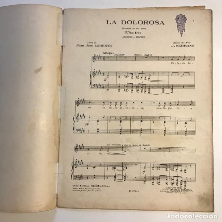 Partituras musicales: La dolorosa. Zarzuela en dos actos. José Serrano 24,5x32,6 cm - Foto 3 - 159446158